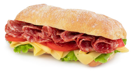 Foto auf Acrylglas Fastfood Ciabatta sandwich with lettuce, tomatoes prosciutto and cheese isolated on white background