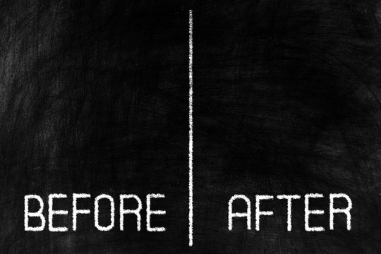 Before and After on Black Chalkboard Background, Suitable for Business Concept.