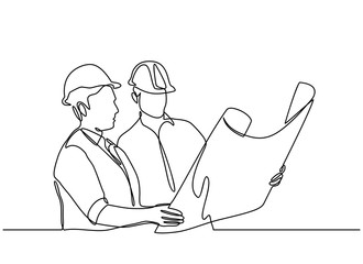 continuous line drawings of some construction workers wearing helmets that stand at meetings and discuss. vector illustration isolated on white background