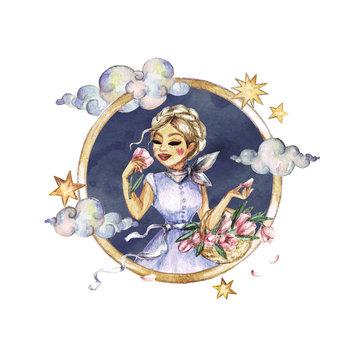Virgo - Zodiac Symbol. Watercolor Illustration.