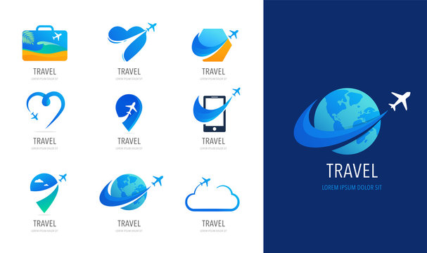 Travel, tourism agency logo design, icons and symbols