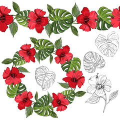 Endless brush and wreath of hand drawn and colored sketch of hibiscus flowers and monstera leaves. Elements isolated on white background.