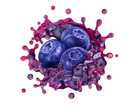 Fresh blueberry juice, smoothie or jam splash swirl with blueberries. Tasty berry juice splashing, blueberry juice isolated. Liquid healthy food or drink fruit design element. 3D render