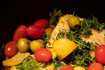Foto auf AluDibond Huhn chicken tajine with vegetables, olives and lemon
