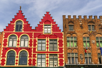 Wall Murals Bridges Typical colored houses on the Grote Markt or Market Square in the center of Bruges city, Belgium