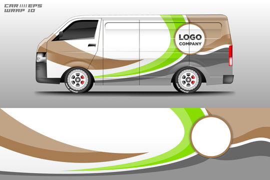 Van decal cargo and car wrap vector . Graphic abstract background livery