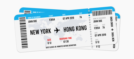 Realistic airline ticket design with passenger name. Vector illustration Fototapete