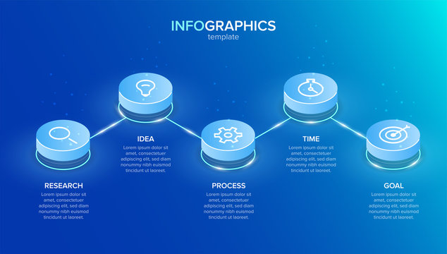 Isometric infographic label template with icons. 5 options or steps. Infographics for business concept. Can be used for info graphics, flow charts, presentations, web sites, banners.