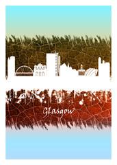 Fotomurales - Glasgow skyline Blue and White