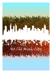 Wall Mural - Ho Chi Minh City skyline Blue and White