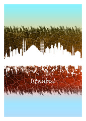Wall Mural - Istanbul skyline Blue and White