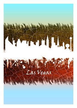 Las Vegas skyline Blue and White