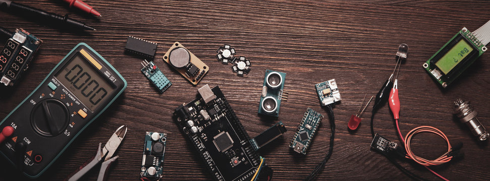 electronic components on a wooden background