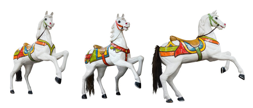 Funfair circus carousel canival. White horses small set on white background