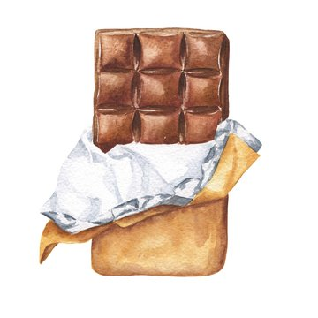 Hand drawn watercolor chocolate bar in wrapping paper isolated on white background. Delicious food illustration.
