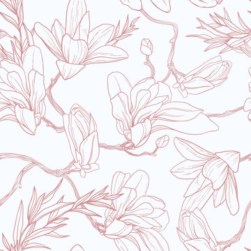 Seamless floral vector pattern with magnolia.