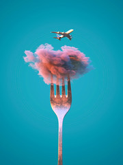 Fototapete - airplane flies over the cloud on a fork