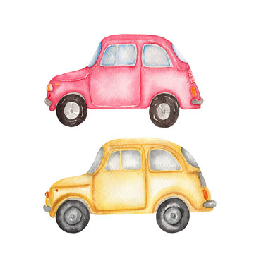 Watercolor set  illustration of yellow car and red car on white background. Hand drawn transport.