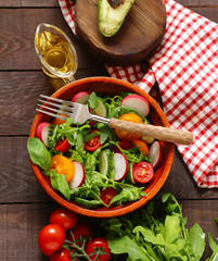 fresh salad with tomatoes and radish