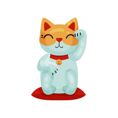 Maneki neko. Cute Japanese cat figurine. Vector illustration.