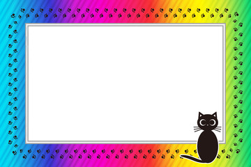 Background material wallpaper, photo frame, message frame, cat, footprints, meat ball, pet, copy space, animal hospital, advertising, POW, name tag, price tag, picture frame,