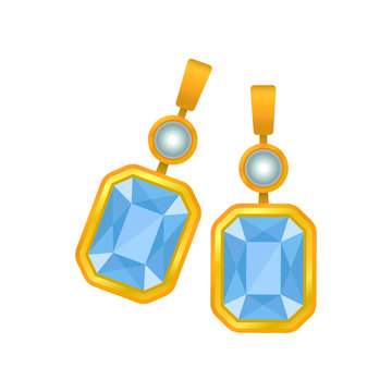 Pair of earrings with a blue gem. Vector illustration.