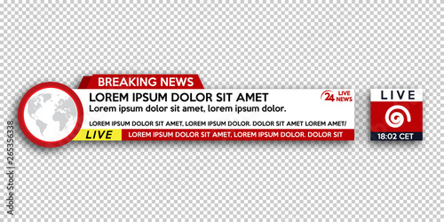 Breaking News template title on transparent background for