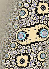 Fraktalillusion mit hellblauen, zellulären Elementen