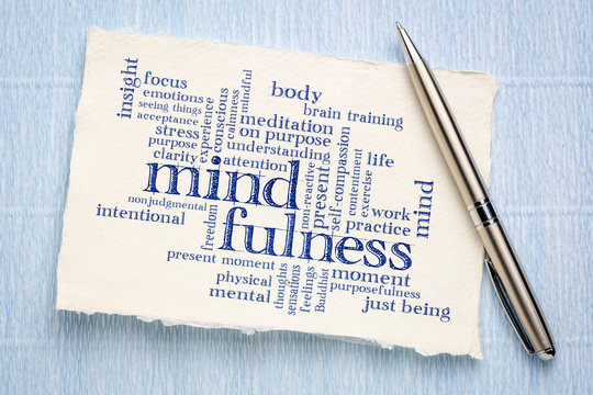 mindfulness word cloud on handmade paper