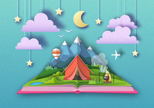 Open fairy tale book with Mountains landscape and camping. Cut out paper art style design