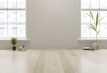Interior empty room 3D rendering Wall mural