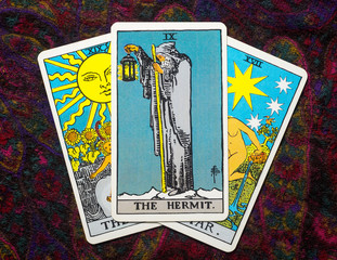 """Chainat Province, Thailand, April 5, 2019. illustrative editorial tarot cards """"THE HERMIT."""""""