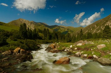 Flowing river in the Kyrgyzstan mountains