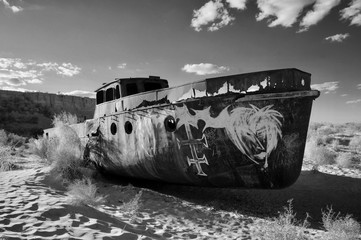 Ship graveyard in the dried up Aral Sea, Uzbekistan