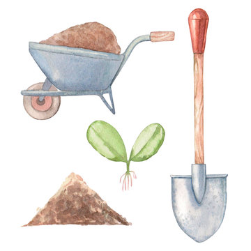 watercolor set of garden tools and other gardening items 3