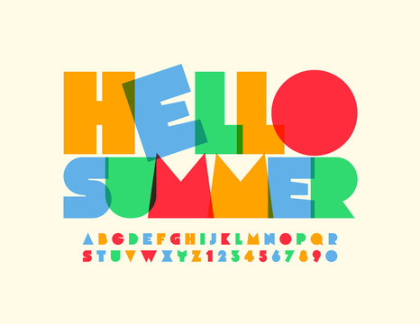 Vector bright poster Hello Summer with modern Alphabet Letters and Numbers. Kids colorful Font