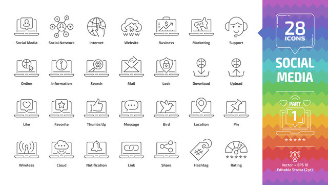 Social media network editable stroke outline icon set part 1 with global internet website, digital business and marketing technology, web support, message, share and like line symbols.