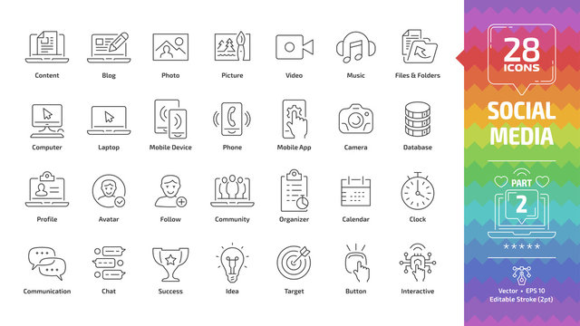 Social media network editable stroke outline icon set part 2 with global internet digital technology, computer, laptop and mobile device, web content: blog, photo, picture, video and music line sign.