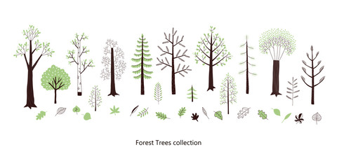 Forest trees and leaves vector clip-art set. Woodland flora in Scandinavian decorative style. Woody park plant isolated on white collection.