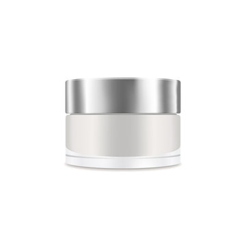 White blank realistic cream container. Mockup, cosmetic package, jar vector illustration