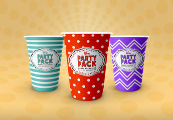 3 Party Cups Mockup