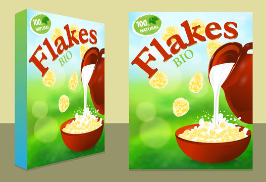 Packaging design or ads flakes corn or wheat. Milk pouring from the jug in a bowl. Template package box for products cereal 3d illustration, nature background. Vector