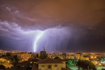 Lightning Strike Over Cochabamba; Cochabamba, Bolivia