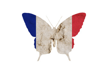 Foto auf AluDibond Schmetterlinge im Grunge Butterfly silhouette in colors of France national flag in grunge style isolated on white background. French flag in the form of a butterfly silhouette.