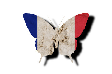 Fotorollo Schmetterlinge im Grunge Butterfly silhouette in colors of France national flag in grunge style isolated on white background. French flag in the form of a butterfly silhouette with a shadow.