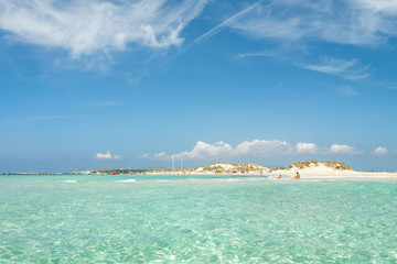 Espalmador island. A tiny Balearic island that lies between Ibiza and Formentera with beautiful S'Alga beach. Spain.