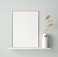 Mock up poster in interior background, Scandinavian style, 3D render