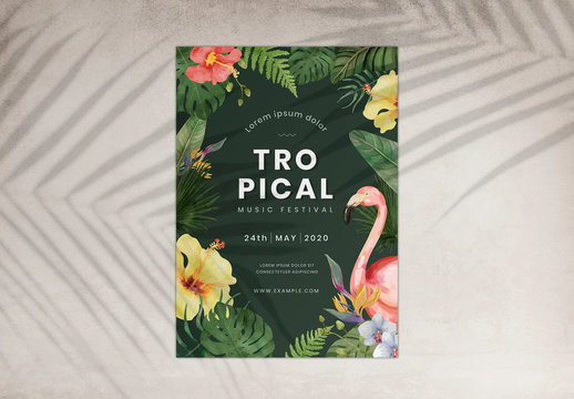 Music Festival Poster Layout with Tropical Illustrations