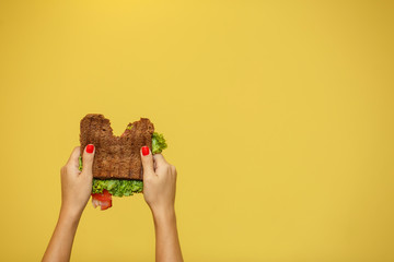 Wall Murals Snack woman hands hold bitten sandwich on yellow background. Sandwich promotion concept