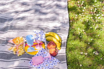 Colored plastic dishes and picnic snacks. Sunny day in the park.